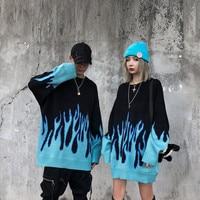 Trui Mannen Streetwear Retro Vlam Patroon Hip Hop Herfst Pull Over Spandex O-hals Oversize Paar Casual Truien Y192