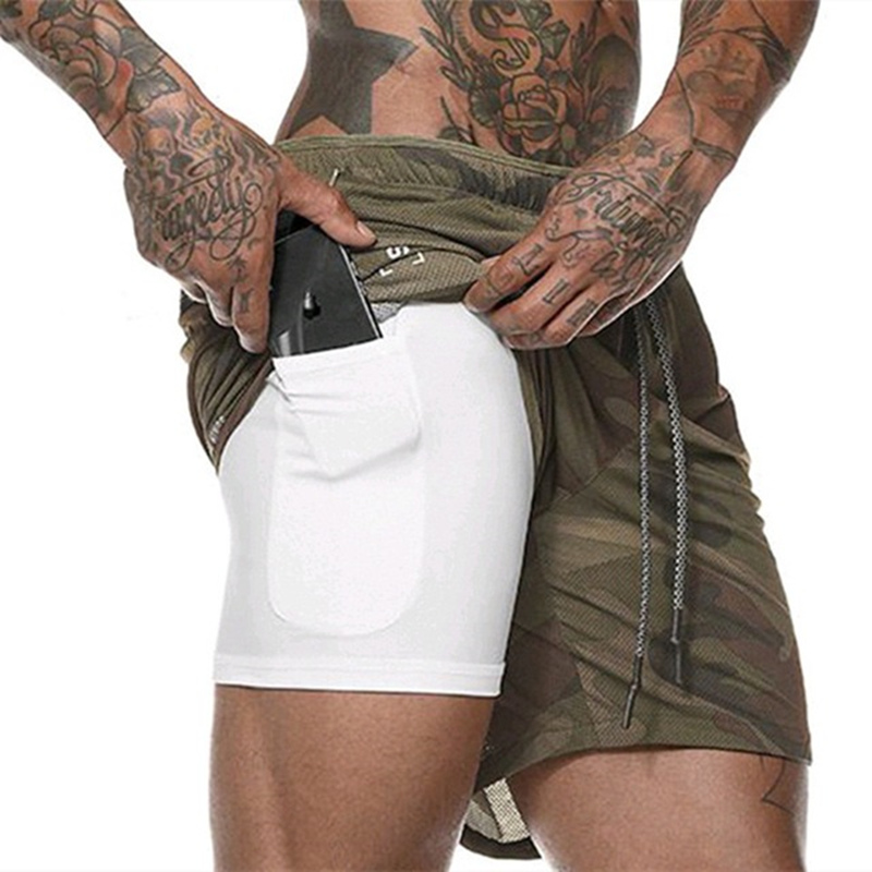 New Mens Double Layer Phone Pocket Running Shorts Gym Fitness Training Quick Dry Beach Short Man Summer Sports Workout Crossfit