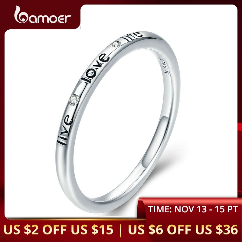 BAMOER 100% Authentic 925 Sterling Silver Live Love Life Letter Engrave Finger Ring For Women Wedding Engagement Jewelry SCR275