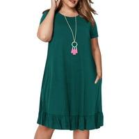 Spring Big size 9XL dress for Fat MM Woman dress Loose solid ruffles plus size women clothing 9xl dress  1