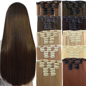 MUMUPI 6pcs 16 Clips Long Straight Synthetic Hair Extensions Clips In High Temperature Fiber Black Brown Hairpiece
