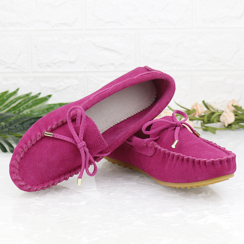 Slip-On Loafers Flat-Shoes Moccasins Suede Genuine-Leather New-Fashion Ladies Casual