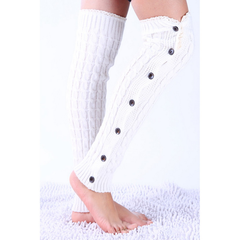 New Fashion Women Lace Button Leg Warmer Knitted Stocking Winter Autumn Boot Gaiters Covers Legwarmer Soft Classic Boot Toppers