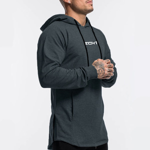 Image 2 - Casual Hoodies Mens Cotton Sweatshirt Gyms Fitness Workout Pullover Autumn New Male Gray Slim Hooded Jacket Tops Brand Clothing