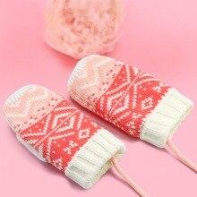 0-8 years Winter Warm Kids Girls Knitting Glove Outdoor Fleece Lining Mittens With Neck String