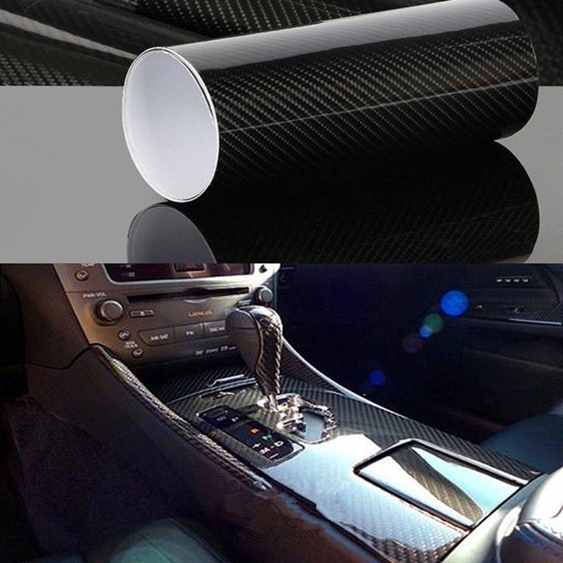 Car 7D Sticker High Gloss Black Carbon Fiber Vinyl Wrap Bubble Free Ultra Shiny Waterproof Wear Resistant Decal