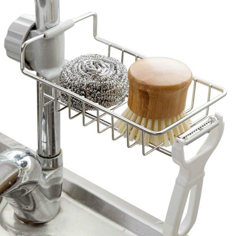 Home Accessories Stainless Steel Kitchen Faucet Storage Hanging Punch Kitchen Drain Storage Rack Organizer Pf082101