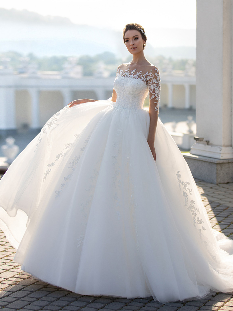 Ball-Gown Wedding-Dress Long-Sleeve Princess Beaded Lace Illusion Lelaacra Fashion Appliques