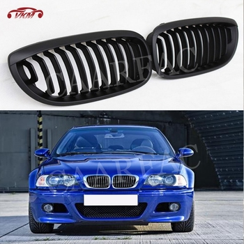Front Kidney Double Slat Grill Mesh Frame Covers for BMW 3 Series E46 4 Door Coupe 2002-05 318I 320I 325I 330I image