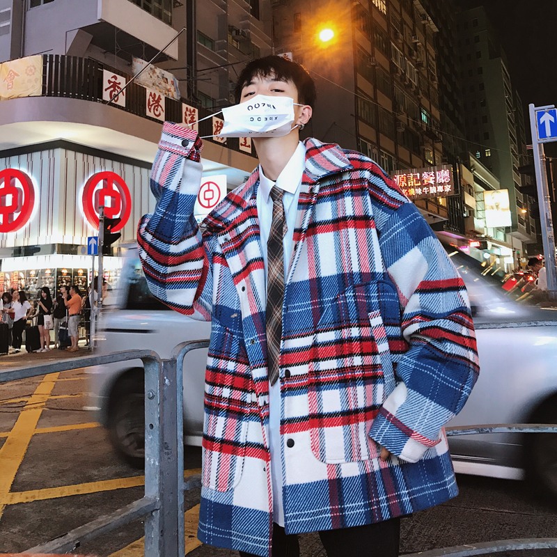 2020 Winter Men's Lattice Printing Worsted Wool Blends Snow Jacket Overcoat Loose Cashmere Cotton-padded Clothes Coat Size S-XL