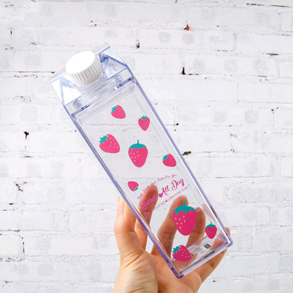 Plastic Clear Milk Carton Water Bottle Fashion Transparent Milk Box Juice Water Cup Gifts for Girls WXV Sale