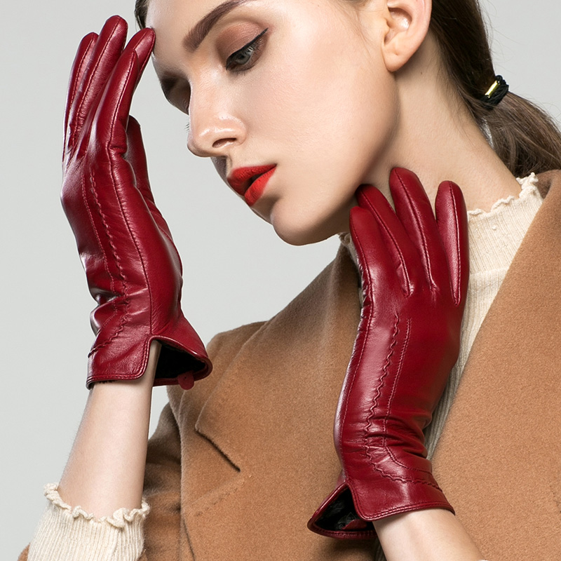 Gants en cuir véritable femme automne hiver Style court peau de chèvre de haute qualité Plus velours garder au chaud conduite gants femme K31
