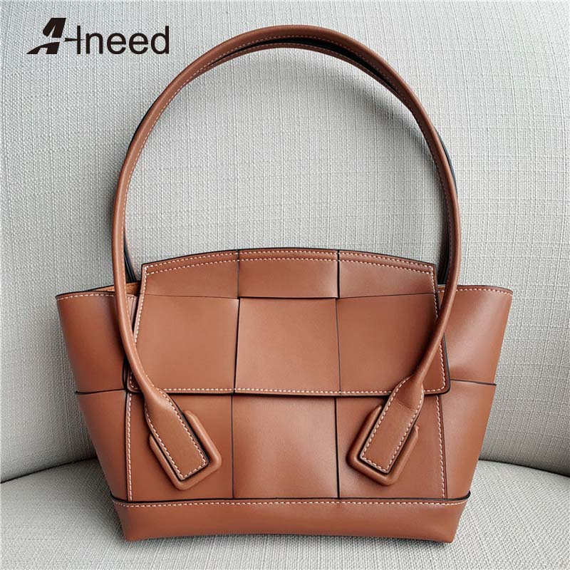 Alneed Luxury Handbags Women Bags Designer Casual Totes Genuine Leather Top Hand Bag 2019 Arco Shape Bags Ladies Messenger Bags