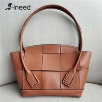 Alneed Luxury Handbags Women Bags Designer Casual Totes Genuine Leather Top Hand Bag 2019 Arco Shape Bags Ladies Messenger Bags