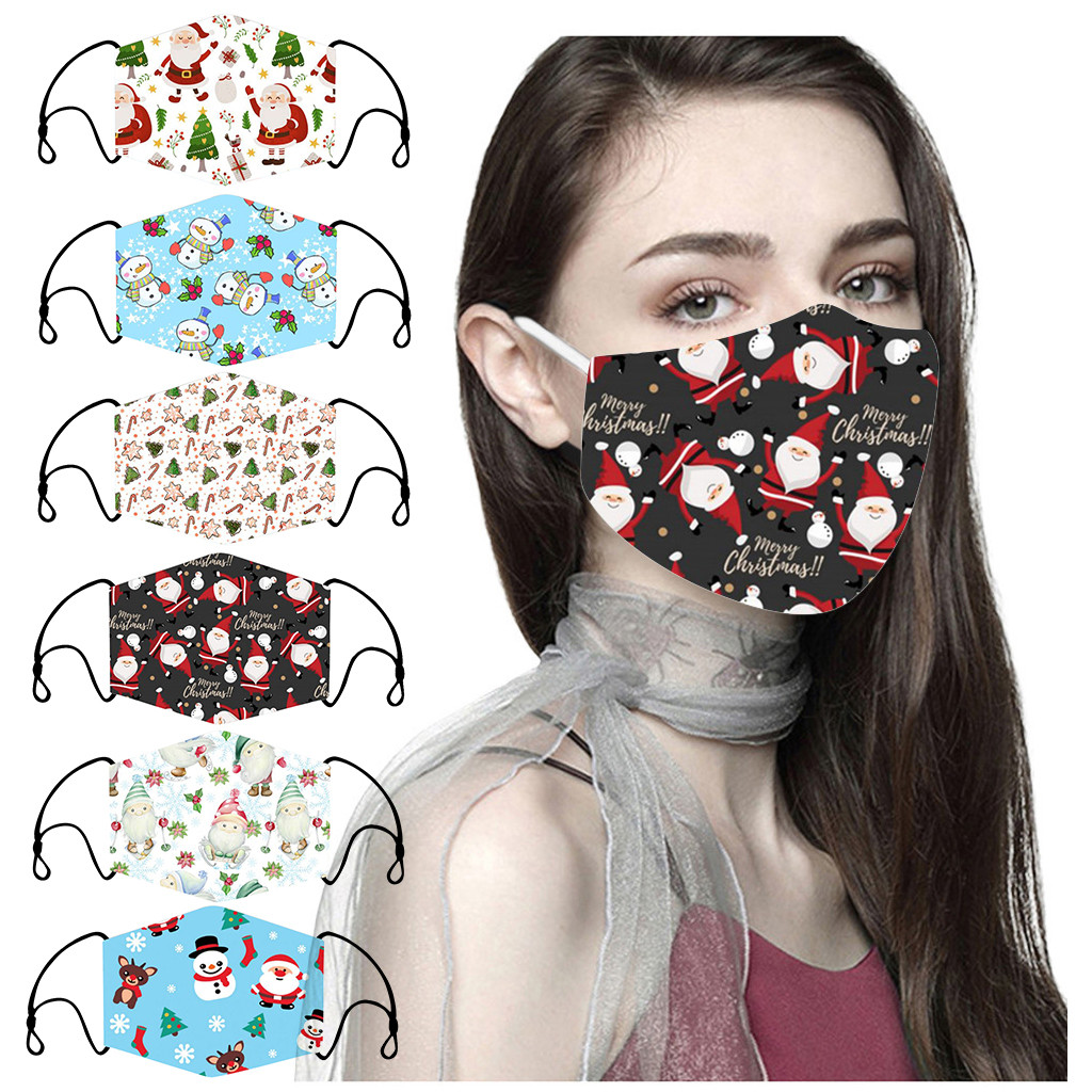 3D Christmas mascarilla Adult Cool Mouth Cover Festive Party Respirator Anti-Pollution Washable and Reusable Maskse With filters