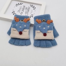 Детские зимние перчатки красивые Мультяшные универсальные хлопковые перчатки на полпальца теплые митенки детские вязаные перчатки на полпальца