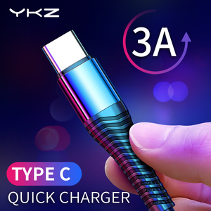 YKZ 3A USB Type C Cable Fast Charge Wire Type-C USB C Charger For Samsung Galaxy Xiaomi Huawei Mobile Phone USB-C Cable USB Cord