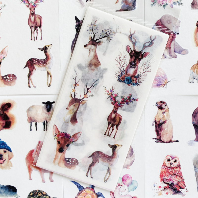 6 Sheets/Pack Cute Watercolor Animal Series Deer Bear Sticker Album Scrapbooking DIY Decor Stick Label Stationery Kids Gift