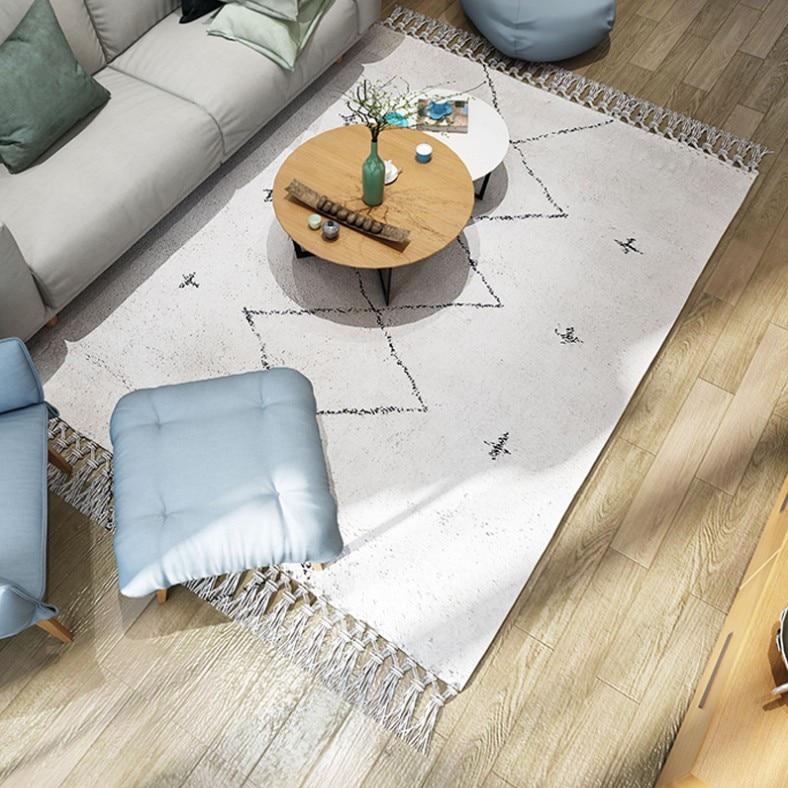 Nouveau maroc Style fait à la main géométrique Plaid motif salon tapis turquie Beige blanc décoration de la maison chambre tapis avec gland