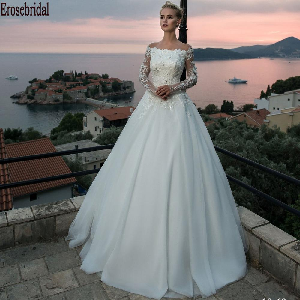 2020 Long Sleeveless Wedding Dress Plus Size Elegant Off Shoulder Wedding Dress Beads Lace Body Lace Up Back Strapless Neck