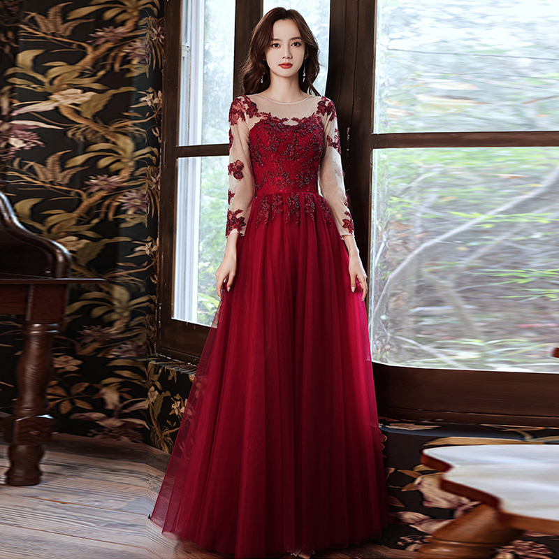 Evening Dress Burgundy Appliques O-Neck Ruched Floor-Length Tulle Lace Full Sleeves New A-Line Woman Formal Party Gowns A1124