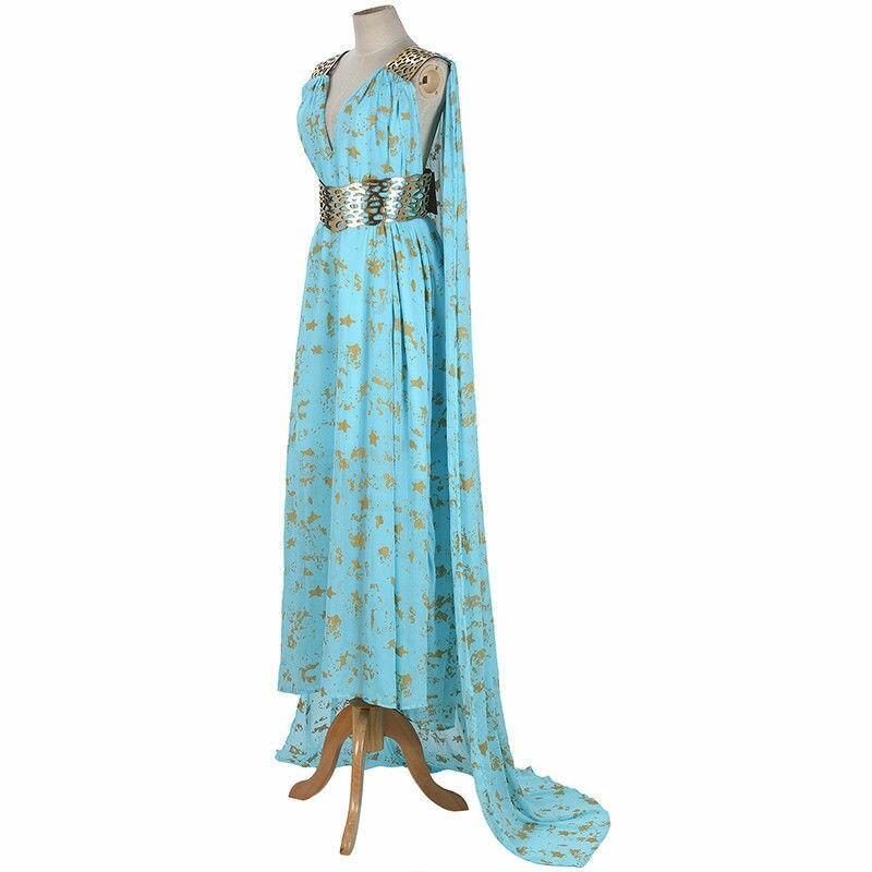 Мать драконов Игра Престолов Дейенерис Таргариен костюм длинное платье Небесно-Голубой Хэллоуин партии Косплей Костюм
