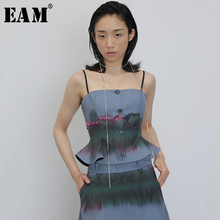 [EAM] Women Blue Pattern Printed Rhinestones Camis New V-collar Sleeveless Personality Fashion Tide Spring Summer 2020 1U572