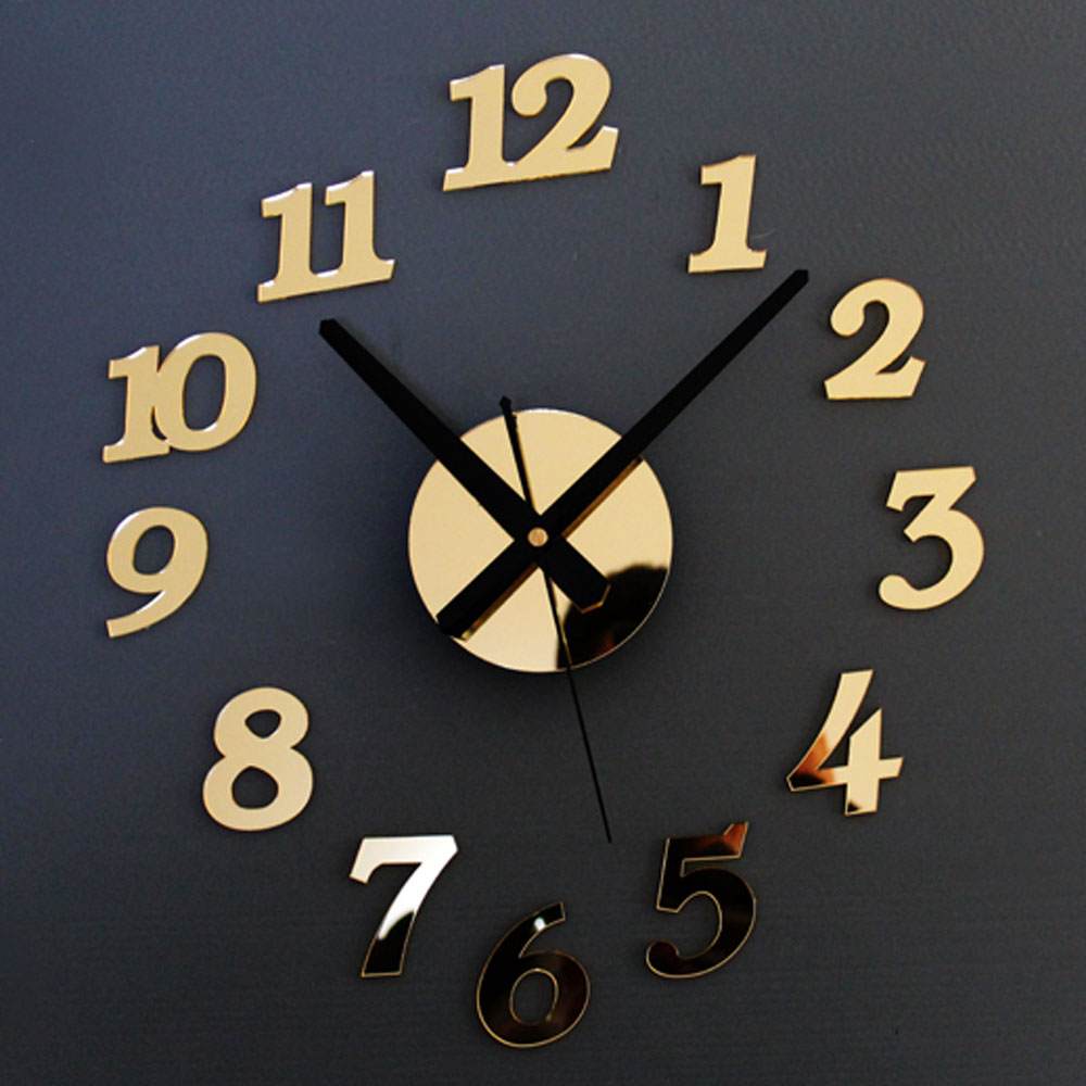 DIY Wall Clock  Mirror Number Sitickers Modern Design Hours Watch Home Decor Gold  Silver
