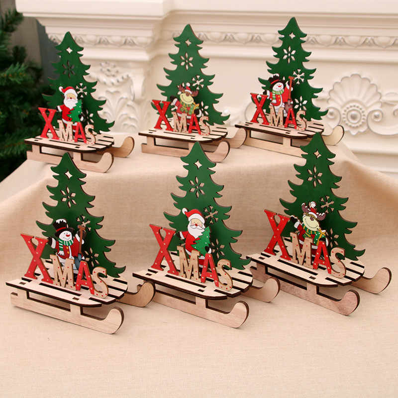 Christmas Santa Claus Wooden Pendant Assembled Ornaments Sled Xmas Decoration