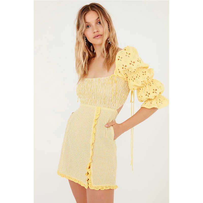 לאהבה נשים של קטמרן קפלי שמלת צהוב כיכר צווארון אונליין ללא משענת אלסטי חזה ומותנים משרד ליידי מיני שמלה