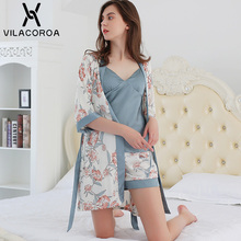 Womens Pajamas Robe Suit Thin Section Printed Robe Sashes Solid Color Camis Ladies Elegant Sleepwear Camicia Da Notte Donna
