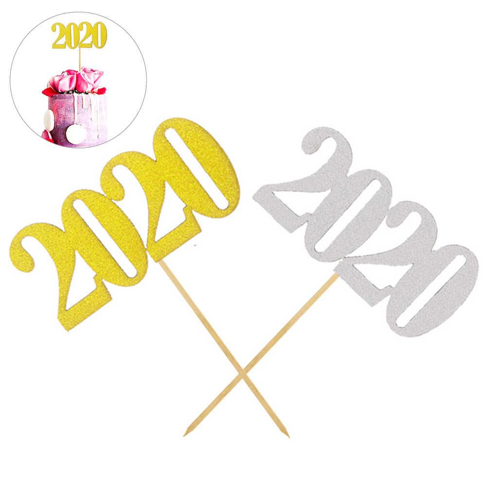 2020 ケーキトッパー旗新年誕生日結婚式パーティーカップケーキデザート装飾繊細な番号印刷だけでなく、グリッターデザイン