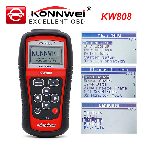 KONNWEI KW808 OBD2 Car Fault Code Reader Scanner Automotive Diagnostic Tool OBDII code reader