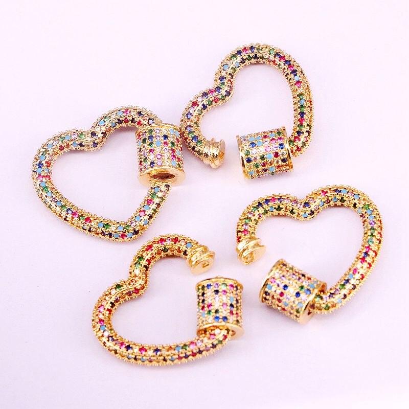 3 шт., золотая, радужная CZ микро проложенная застежка сердечко, застежки для ювелирных изделий DIY, карабин для изготовления ювелирных изделий