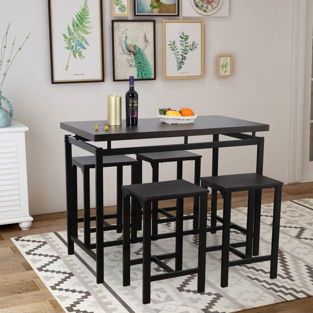 High Bar Dining Table and 4 Chairs Set  5
