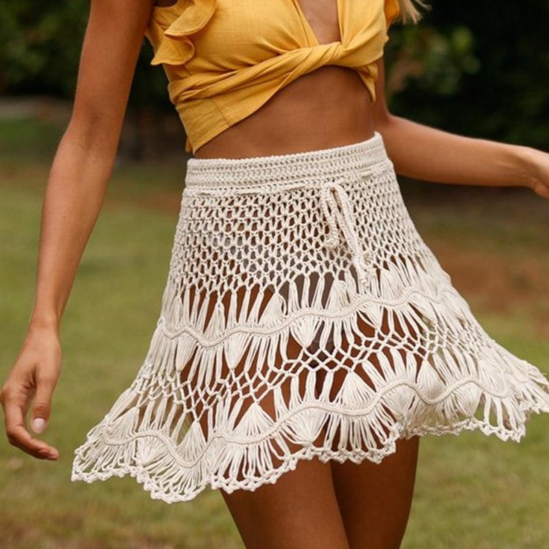 Crop top  bralette and mini skirt pareo  beach outing  crocheted Skirt Pareo Beachwear Summer Clothes Handmade Unique
