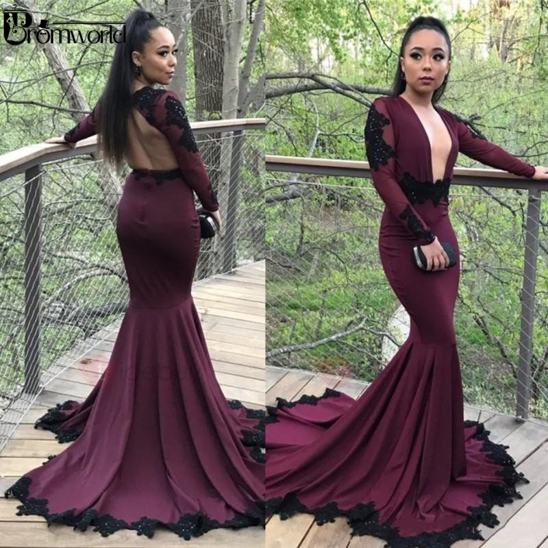 Sexy Burgundy Grape Mermaid Prom Dresses Appliqued Long Sleeves Plunging V Neck Black Girls African Party Gowns Evening Formal