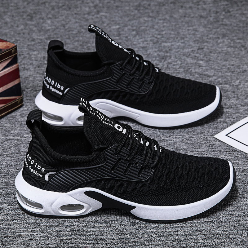Ultralight Sneakers Men Air Cushion Breathable Running Shoes Flying Woven Tide Shock Absorption Wild Sports Trainer Footwear