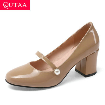 QUTAA 2020 Round Toe Elegant Ladies Pumps Cow Leather Slip on Women Single Shoes Square High Heel Fashion Women Shoes Size 34-39