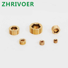 цена на Male Thread Dia Internal Hex Socket Head Pipe Plug Fitting copper Connector Brass fittings Gold Tone 1/8 1/4 3/8 1/2 3/4