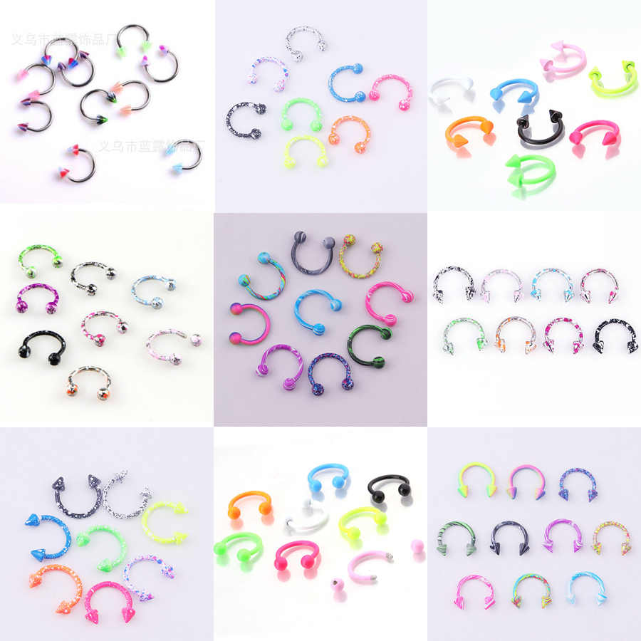 8PCS/10Pcs/lot Stainless Steel Nose Hoop Nose Rings Balls Circulars Horseshoes Barbell Ring Body Piercing Jewelry