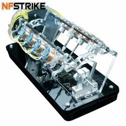 NFSTRIKE  5v 4W 8 Coils High Speed Electromagnet Automobile Engine V-Shaped Engine Model Educational Toys Children Adult Toys