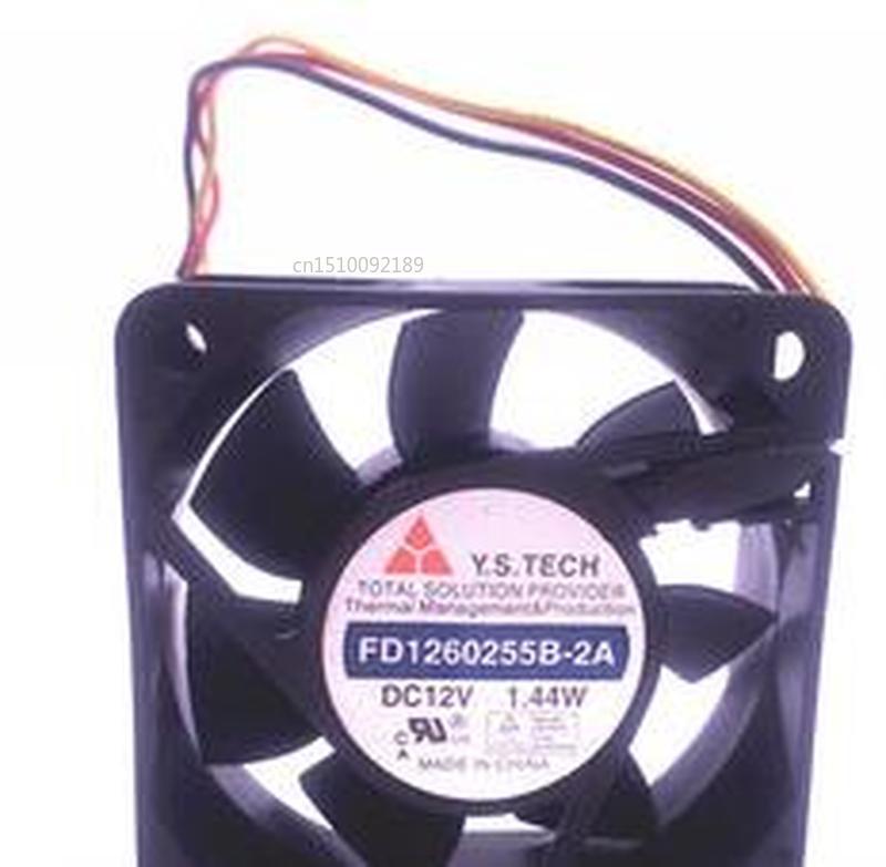 For Y.S.TECH FD1260255B 2A DC12V 1.44W 3pin 3wire 6025 60X60X25MM Cooling Fan Free Shipping