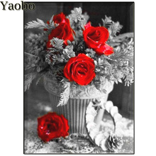 New diy diamond painting red rose flower cross stitch mosaic embroidery round square,black white art