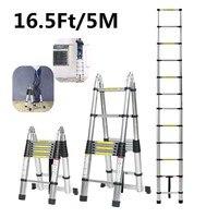 5 متر 16.5Ft ذات الاستخدام المزدوج سلم تلسكوبي متعرجة سلم سبائك الألومنيوم متعددة الوظائف واحدة سلم قابل للتمدد أدوات المنزل-في سلالم من أدوات على