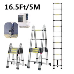 5m 16.5Ft Dual-Use Ladder Telescopic Herringbone Ladder Alloy Aluminium Multifunctional Single Extension Ladder Tools Home