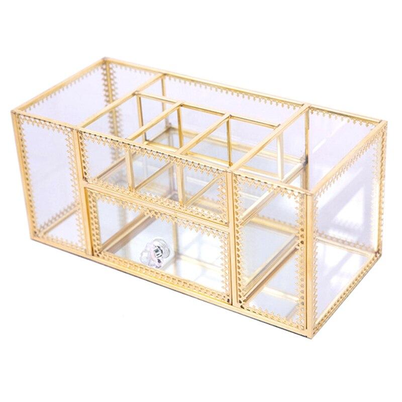 Make Up Storage Baskets Vintage Golden Polygon Shaped Organizer Brass Tone Clear Glass Ornate Jewelry Sundries Storage Tray