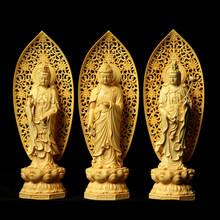 Boxwood carving Chinese Buddha Hinoki sculpture Western Three Sacred Wood Carvings Buddha worship statue Crafts home Decoration(China)