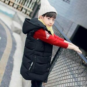 Image 4 - ベビー用ベスト 2 13T 子供ロングスタイル暖かいベスト女の赤ちゃん春綿が詰めフード付き子供暖かいジャケット十代の防寒着
