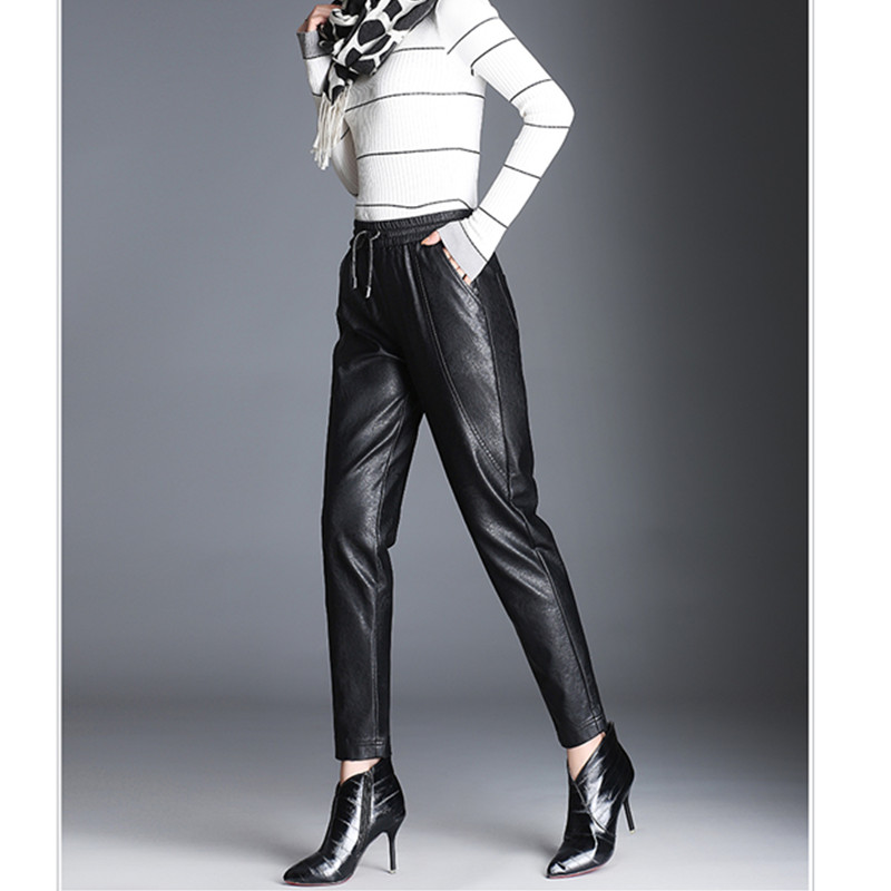 JUJULAND Black High Waist Pencil Pants Women Faux Leather PU Long Trousers Casual Sexy Exclusive Design Fashion 2010